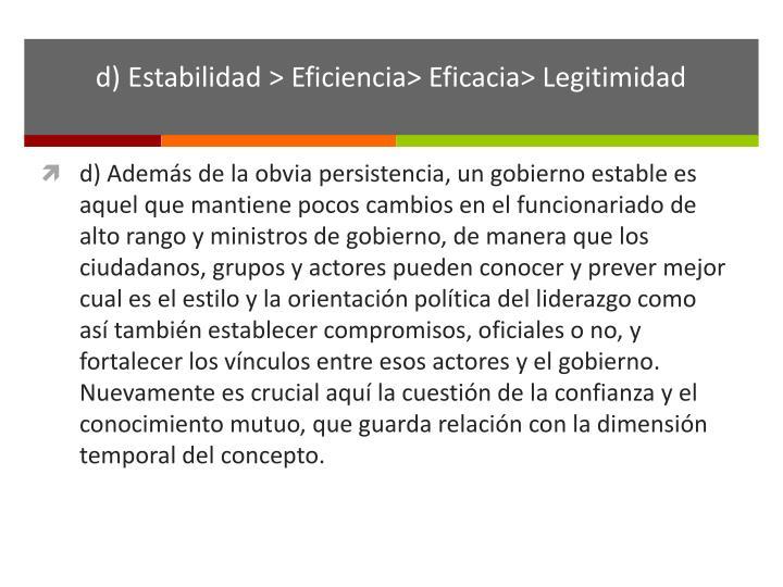 d) Estabilidad > Eficiencia> Eficacia> Legitimidad