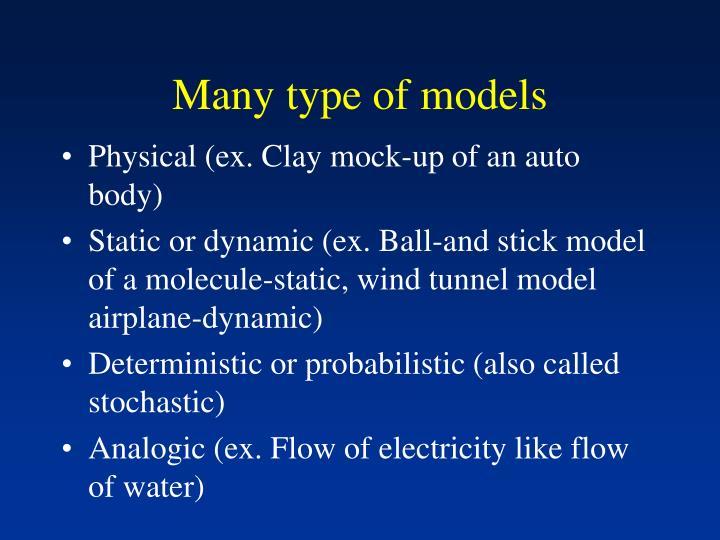 Many type of models