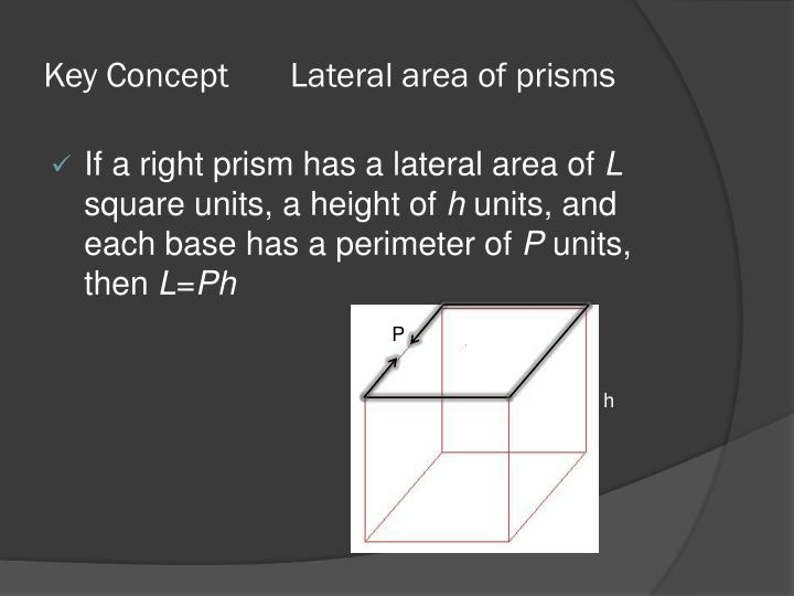 Key Concept       Lateral area of prisms