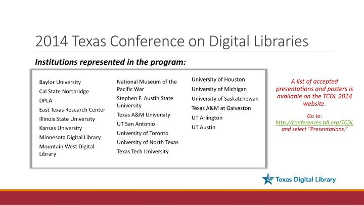2014 Texas Conference on Digital Libraries
