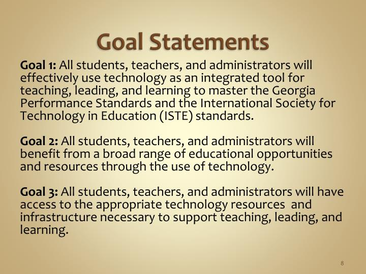 Goal Statements