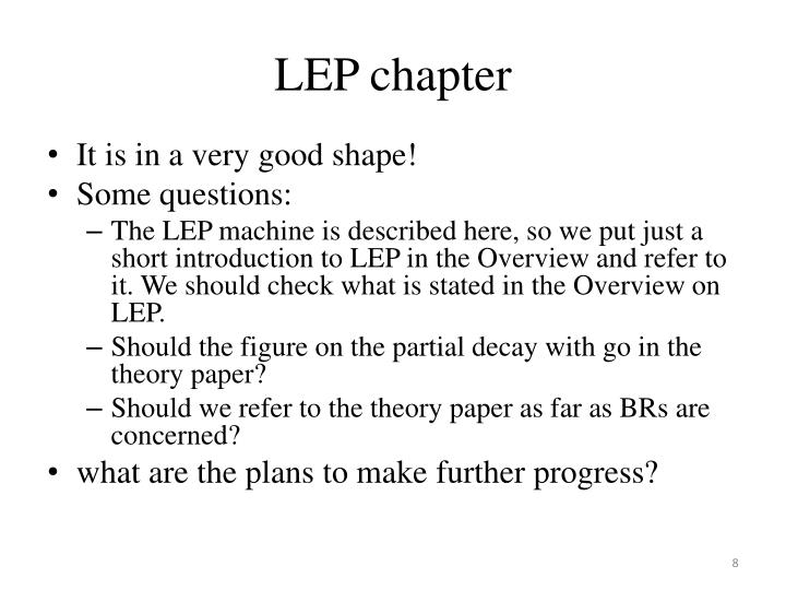 LEP chapter