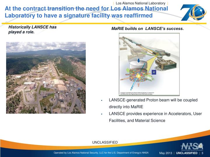 At the contract transition the need for Los Alamos National