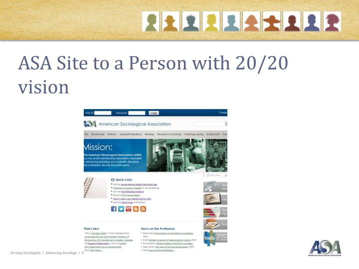 ASA Site to a Person with 20/20 vision