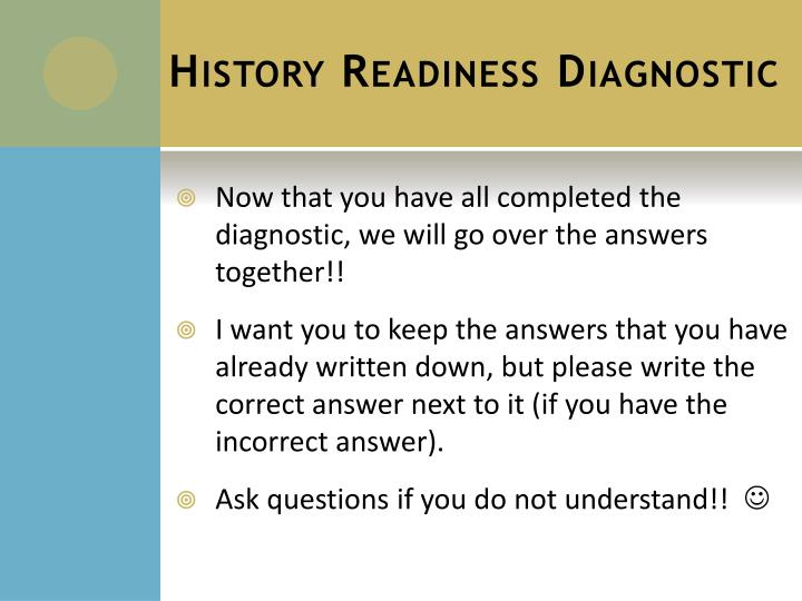 History Readiness Diagnostic