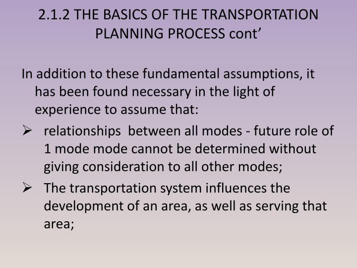 2.1.2 THE BASICS OF THE TRANSPORTATION PLANNING PROCESS cont'