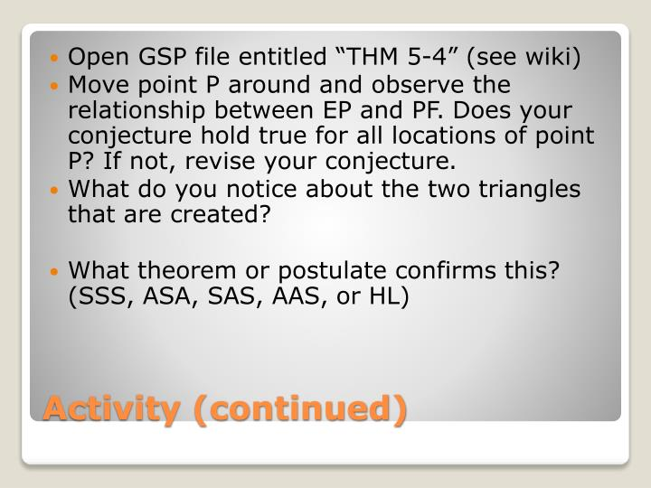 """Open GSP file entitled """"THM 5-4"""" ("""