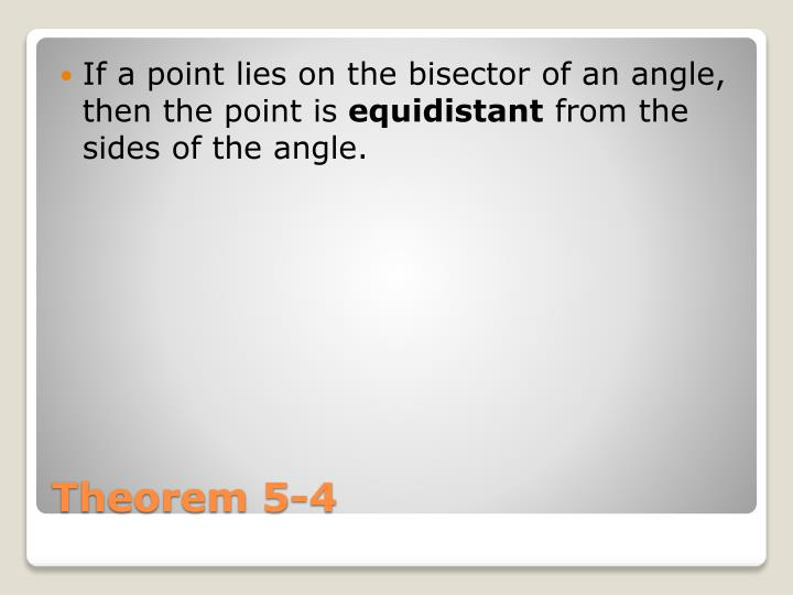 If a point lies on the bisector of an angle, then the point is