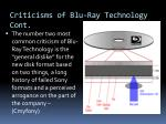 criticisms of blu ray technology cont