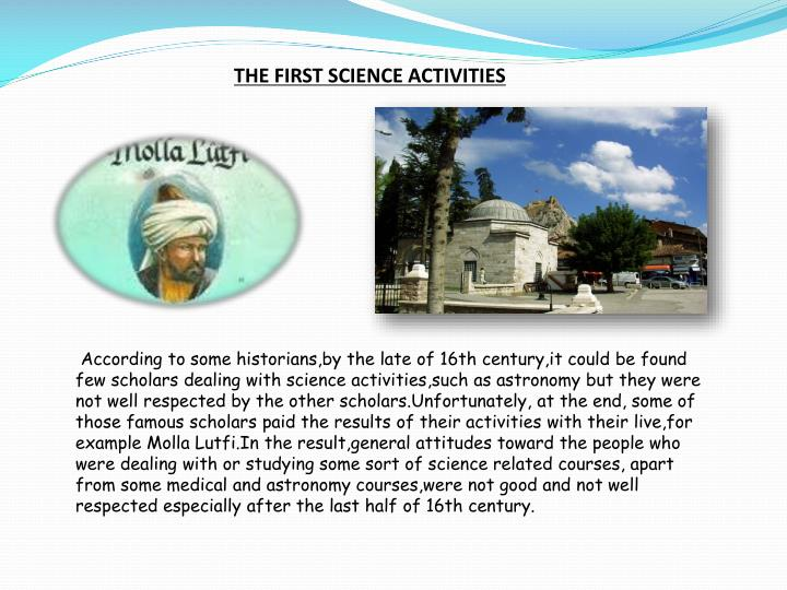 THE FIRST SCIENCE ACTIVITIES
