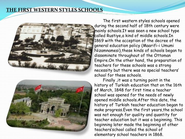 THE FIRST WESTERN STYLES SCHOOLS