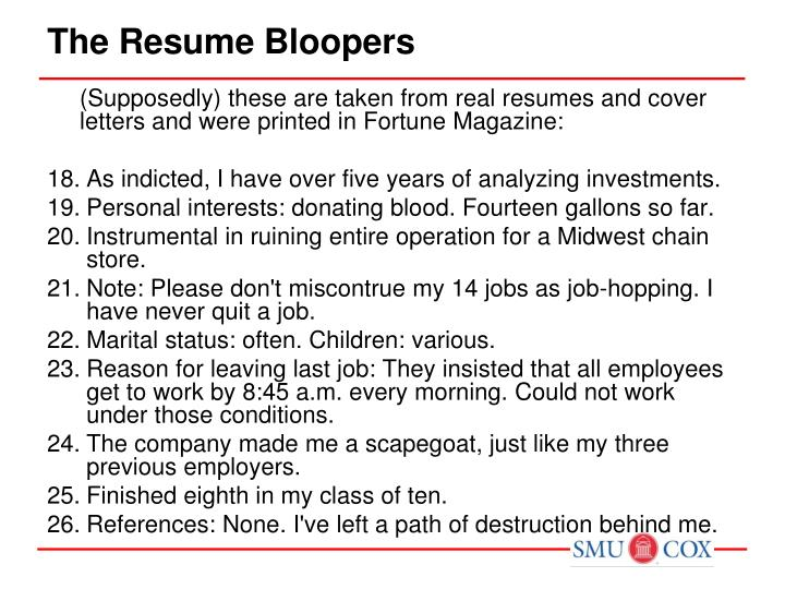 the resume bloopers n.