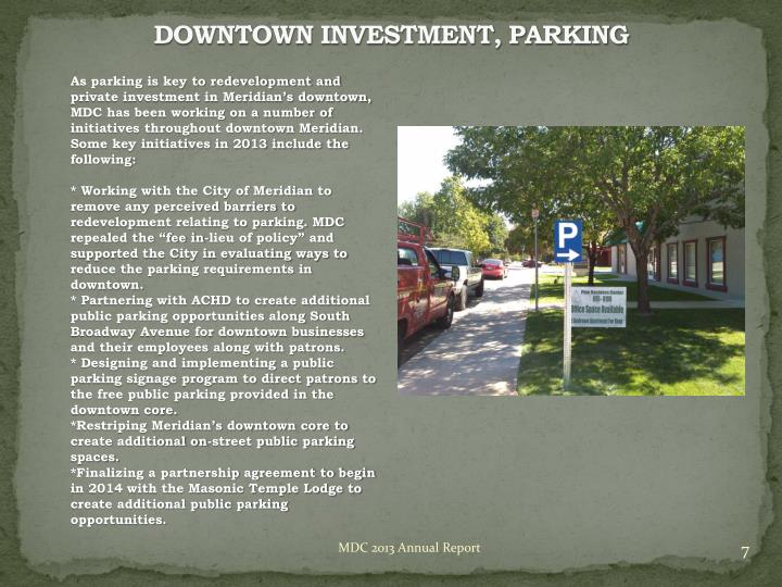 DOWNTOWN INVESTMENT, PARKING