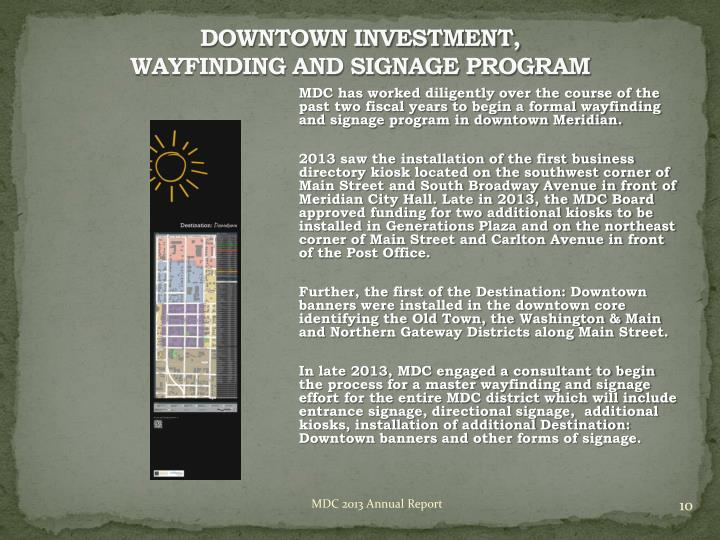 DOWNTOWN INVESTMENT