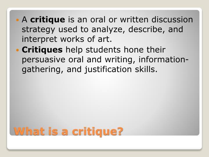 What is a critique