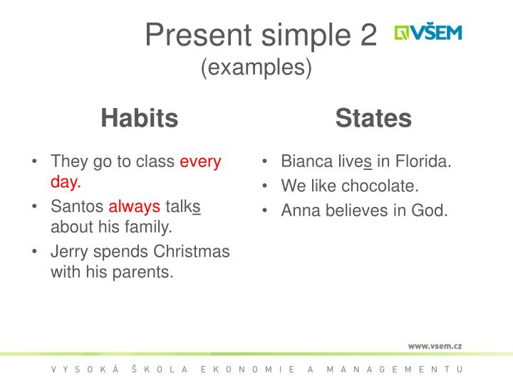 Present simple 2