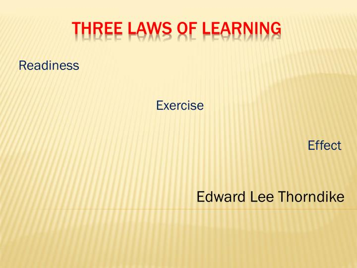 the law of exercise