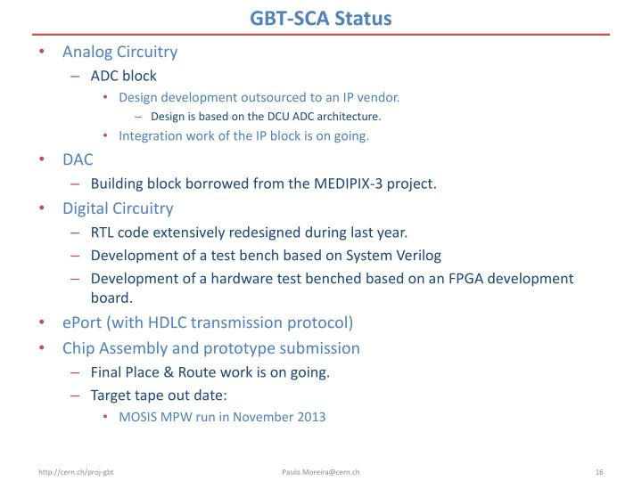 GBT-SCA Status
