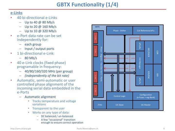 GBTX Functionality (1/4)
