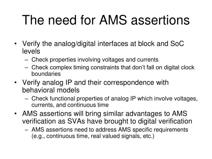 the need for ams assertions n.