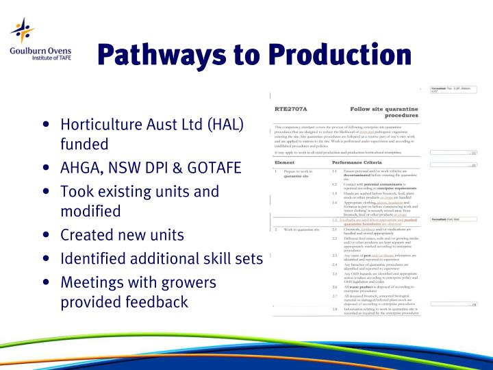 Pathways to Production