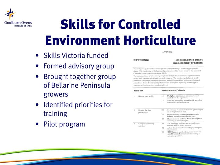 Skills for Controlled Environment Horticulture