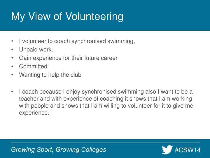 My View of Volunteering