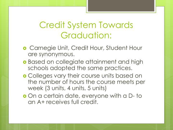 Credit system towards graduation