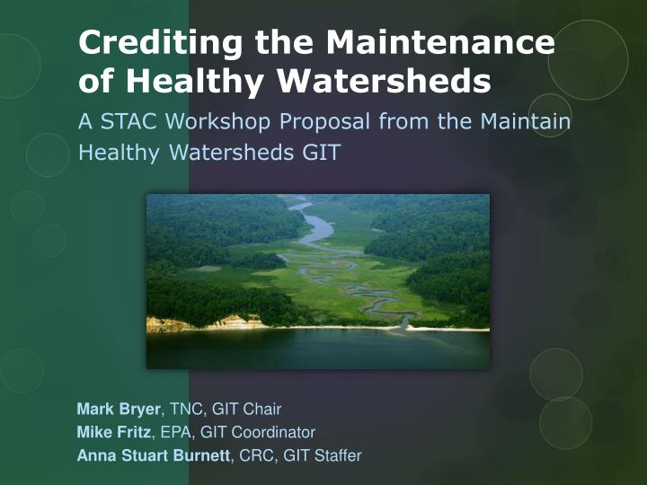 crediting the maintenance of healthy watersheds n.
