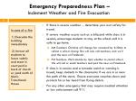 emergency preparedness plan inclement weather and fire evacuation