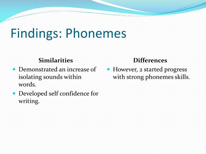 Findings: Phonemes