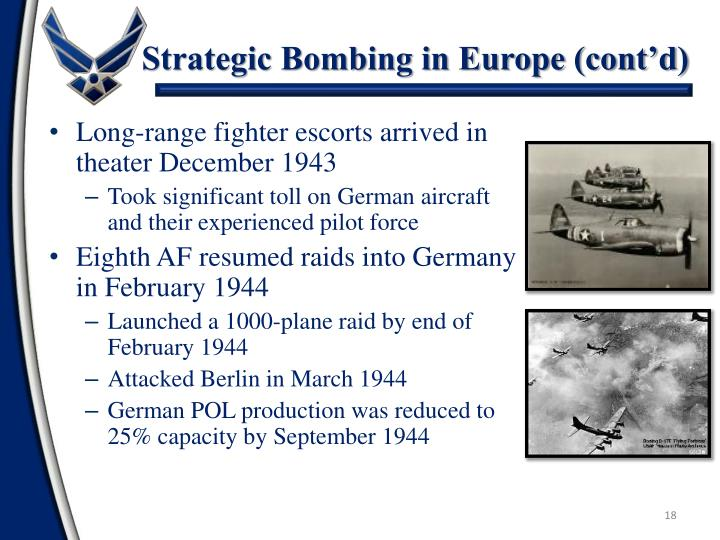 Strategic Bombing in Europe (cont'd)