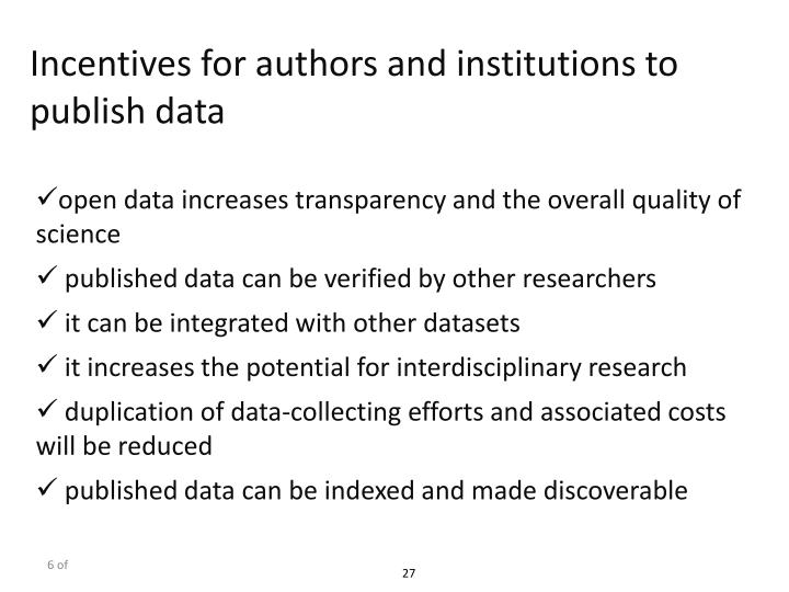 Incentives for authors and institutions to publish data
