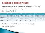 selection of footing system
