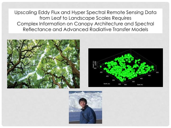Upscaling Eddy Flux and Hyper Spectral Remote Sensing Data from Leaf to Landscape Scales Requires