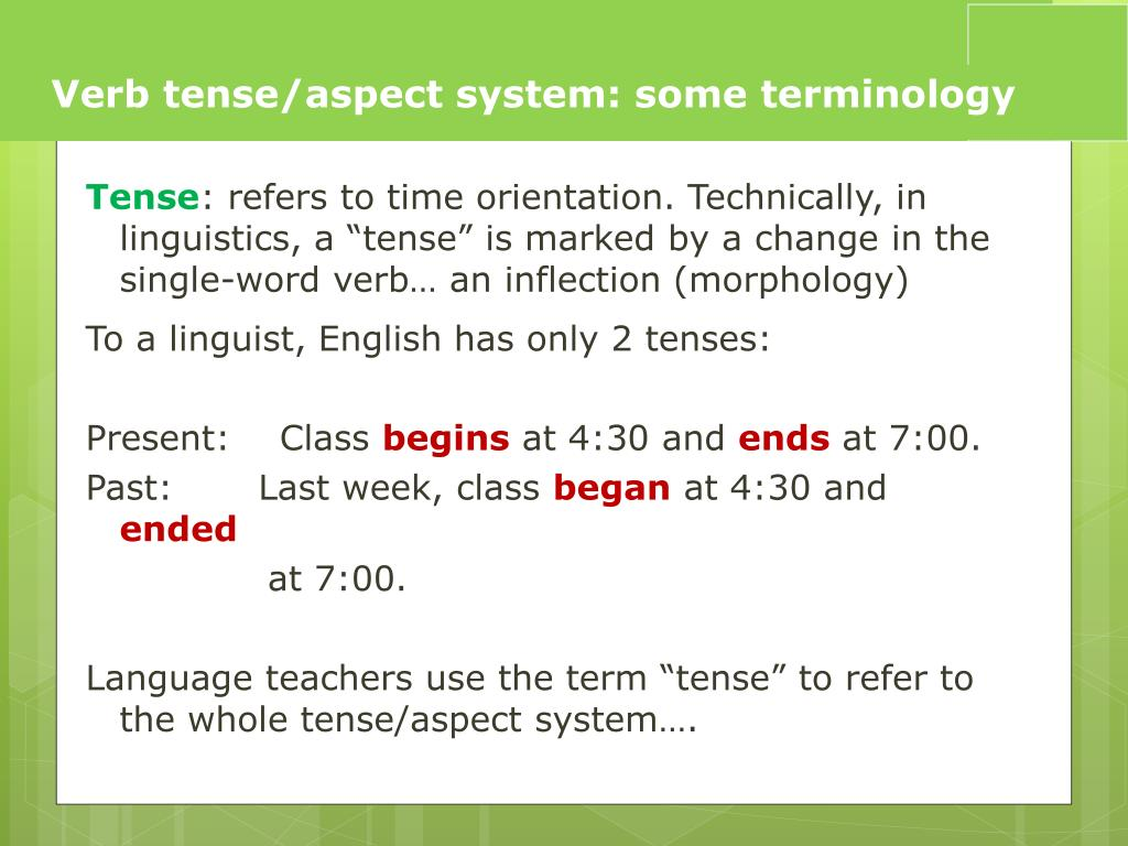 PPT - What tense is that verb? Naming verb tenses PowerPoint