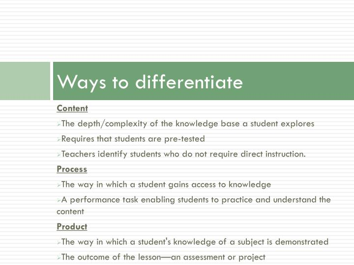 Ways to differentiate