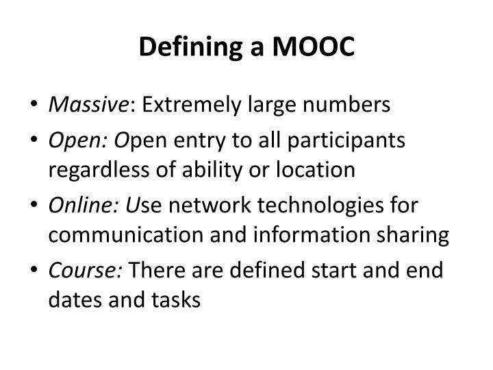 Defining a mooc
