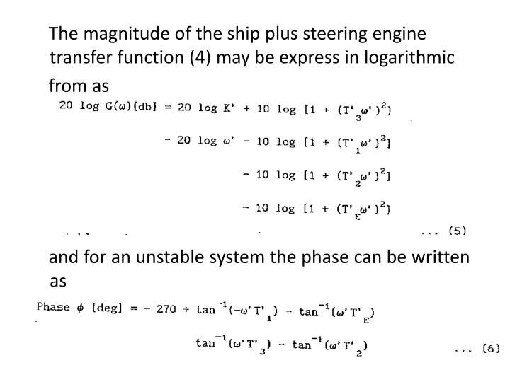 The magnitude of the ship plus steering engine transfer function (4) may be express in logarithmic
