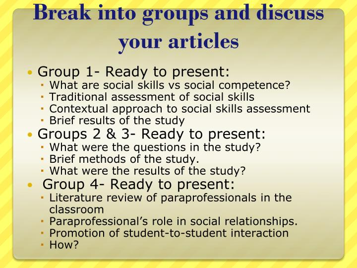 Break into groups and discuss your articles