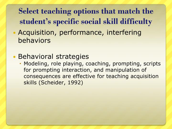 Select teaching options that match the student's specific social skill difficulty