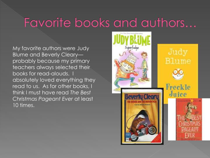 Favorite books and authors…
