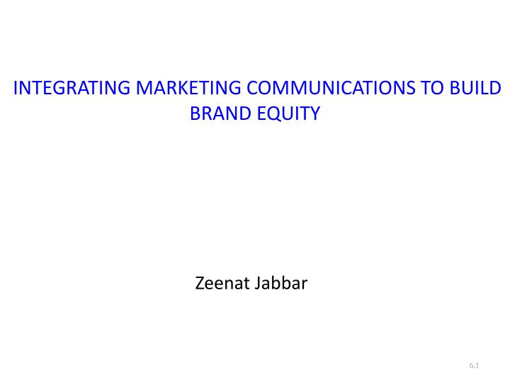 integrating marketing communications to build brand equity n.