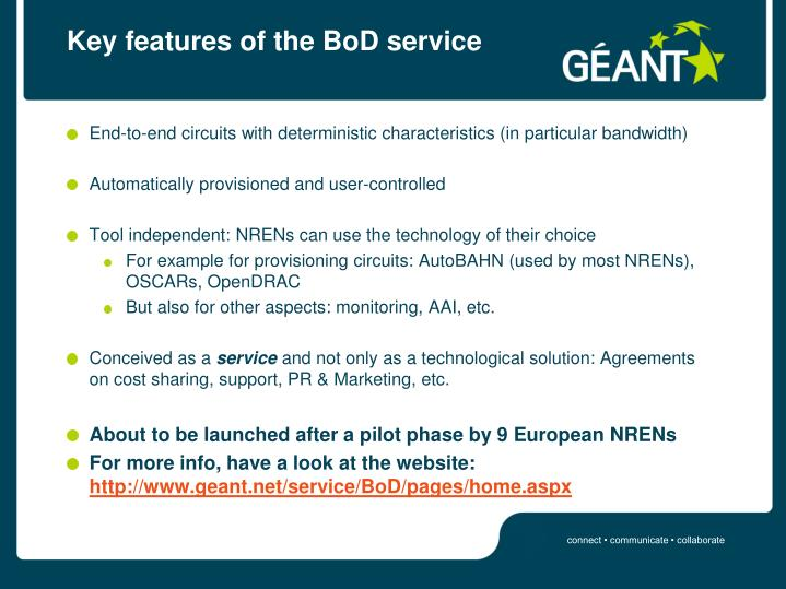 Key features of the bod service