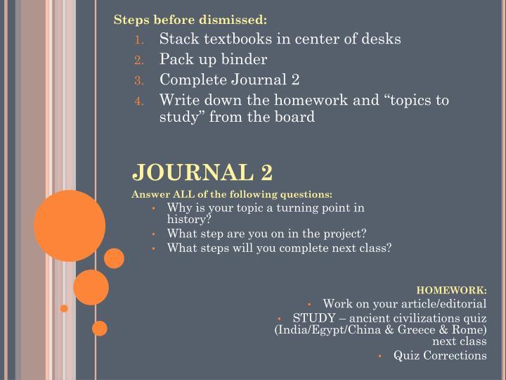 Steps before dismissed: