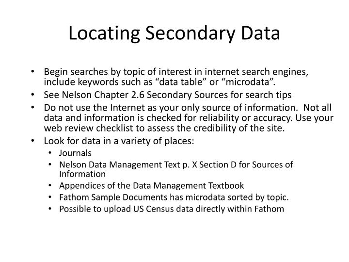 Locating Secondary Data