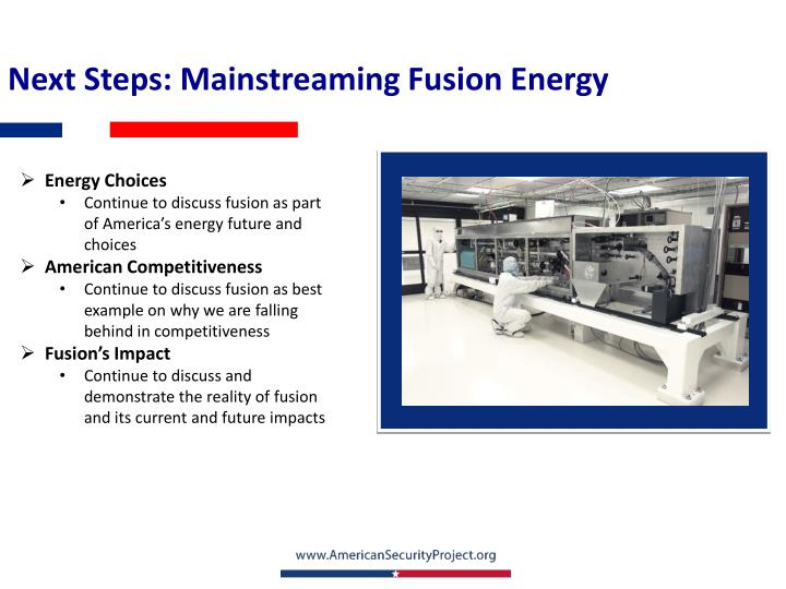 Next Steps: Mainstreaming Fusion Energy