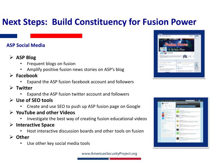 Next Steps:  Build Constituency for Fusion Power