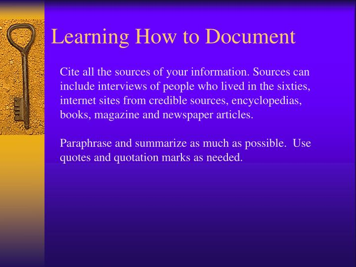 Learning How to Document