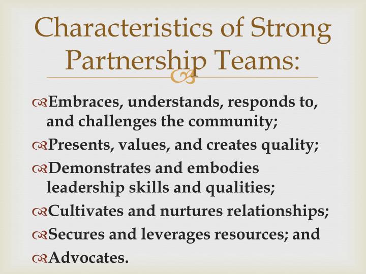 Characteristics of strong partnership teams
